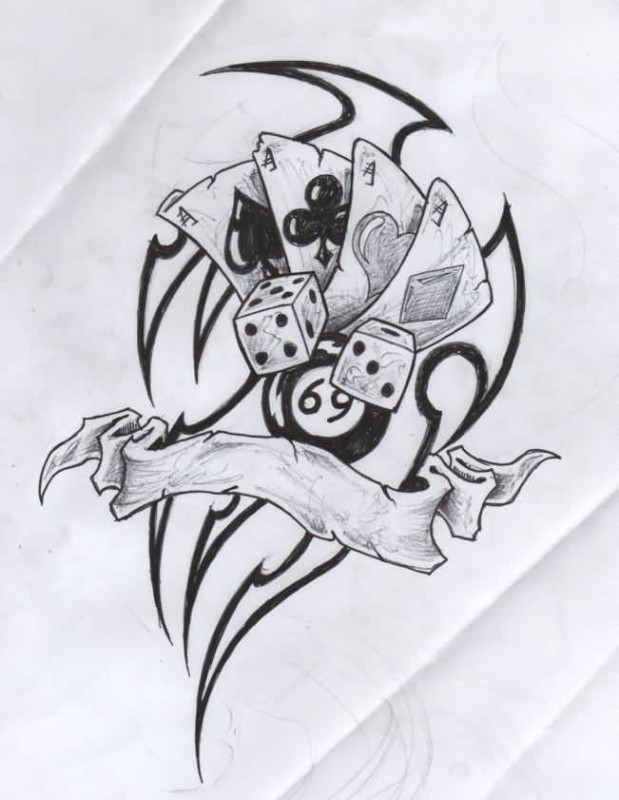 Amazing Black ink Tribal And White Dice Cards Tattoo Graphic