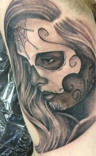 Amazing Pencil Work Hot Dia De Los Muertos Girl Face Tattoo Design