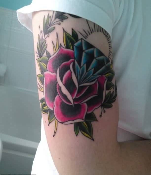 Amazing Upper Sleeve Cover Up With Outstanding Diamond And Lovely Flowers Tattoo For Men
