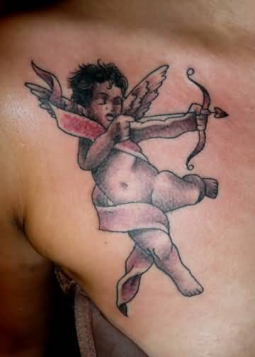 Angry Cupid Cherub Baby Hold Amazing Arrow And Bow Tattoo Design Made By Ink