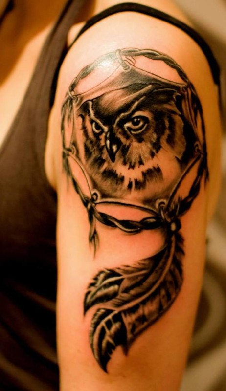 Angry Owl And Dream Catcher  Tattoo Make On Upper Sleeve