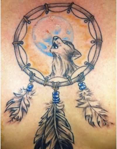 Angry Roaring Dream Catcher Animal Tattoo Design With Lovely Feather