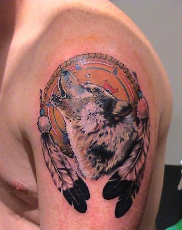 Angry Roaring Wolf In Dream Catcher With Feather   Tattoo Design For Upper Sleeve