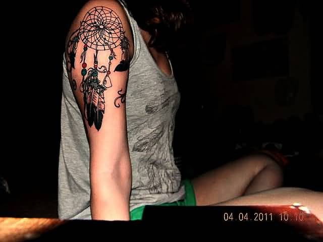 Awesome Dream Catcher With Simple Feather  Tattoo