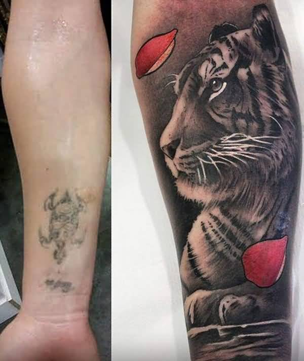 Awesome Tiger Face Tattoo Cover Up With Men Lower Sleeve
