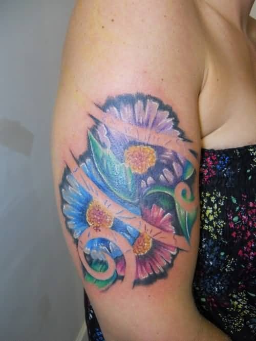 daisy sleeve tattoos - images  pictures - page 2