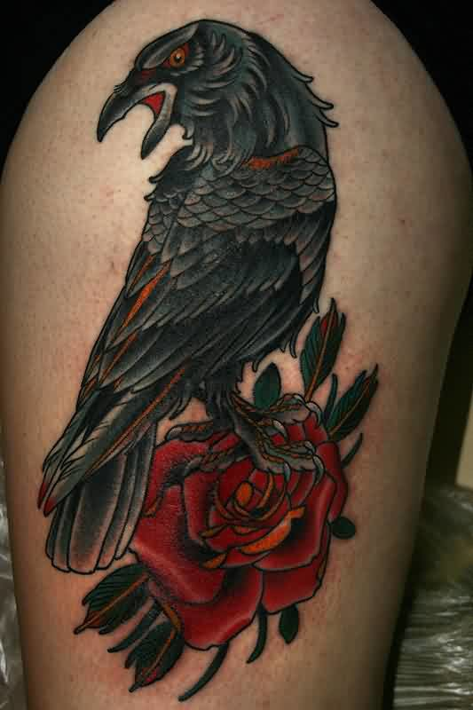 Beautiful Red Roses And Lovely Crow Tattoo Made By Expert