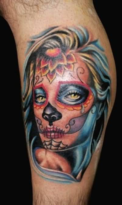 Beautiful Sad Crying Dia De Los Muertos Girl Face Tattoo Design