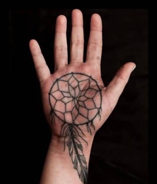 Beautiful Simple Dream Catcher Tattoo Design Make On Palm