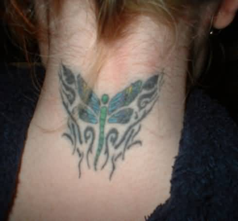 Black Ink Tribal Dragonfly Tattoo On Back Neck For Women