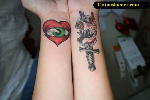 both lower sleeve cover up with outstanding big eye red heart and amazing dagger tattoo. Black Bedroom Furniture Sets. Home Design Ideas