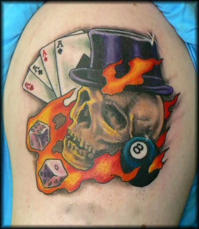 Brillaint Flaming Skull And Dice With Cards Tattoo  Design