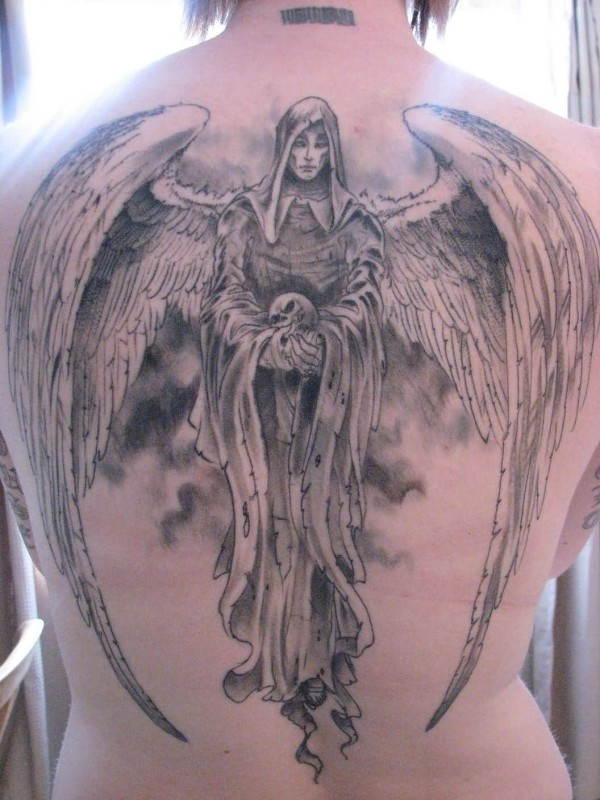 Brilliant Big Wings Death Angel Tattoo Design Make On Back