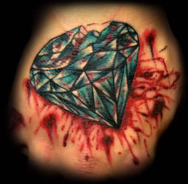 Brilliant Bledding Animated Diamond Tattoo Design Make On Belly