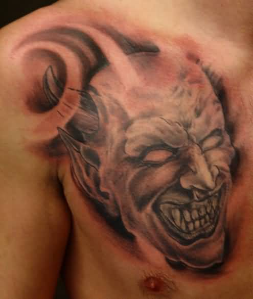 1bd520d81 Brilliant Chest Cover Up With Scary Devil Face Tattoo For Handsome Cool Men  · Handsome Cool Men Show Outstanding Skull And Scary Horn ...