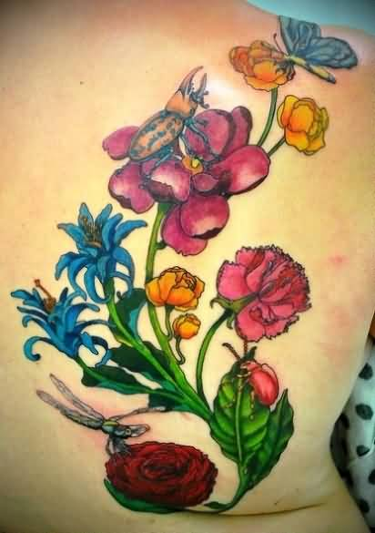 Brilliant Colorful Flowers And Crazy Flying Dragonfly Tattoo On Upper Back