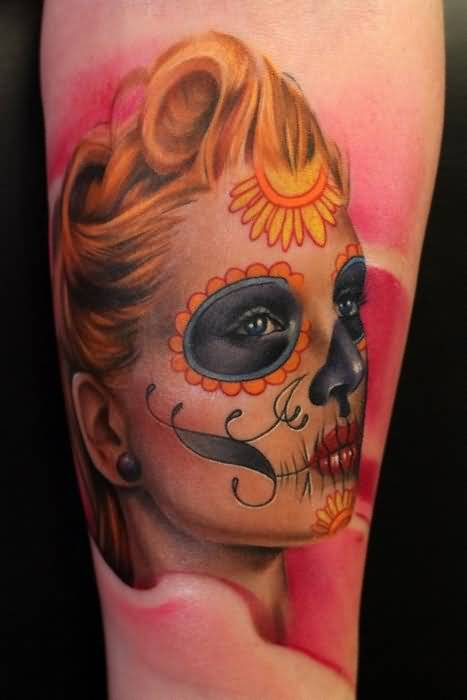 Brilliant Dia De Los Muertos Girl Face Tattoo Design Made By Perfect Artist