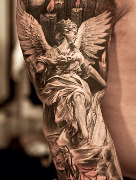 Brilliant Flying Angel Cupid Cherub Tattoo Design Made By Perfect Artist