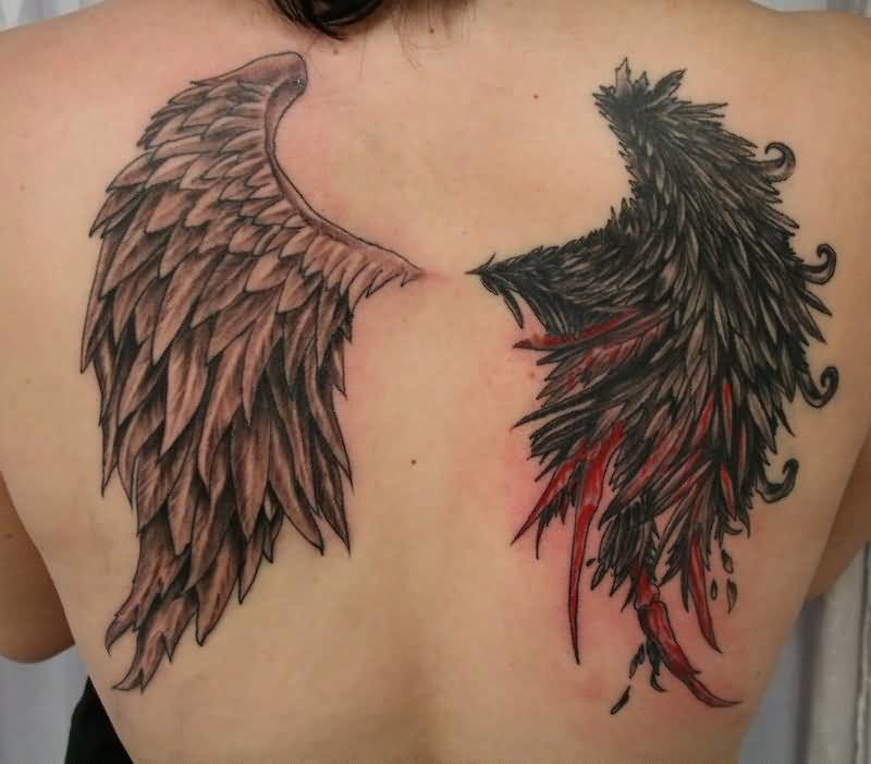 Brilliant Full Back Cover Up With Outstanding Angel And Devil Wings Tattoo Design Made By Perfect Artist