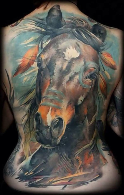Brilliant Full Back Decorated With Awesome Horse Face Tattoo Made By Colorful Ink