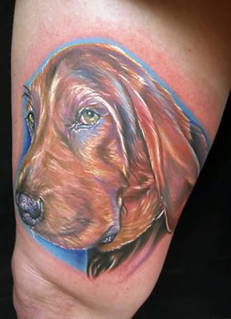 Brilliant Glowing Dog Face Tattoo Design Make On Thigh