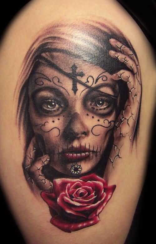 Brilliant Latino Girl  Death Sleeve Tattoo Design With Wonderful Red Rose