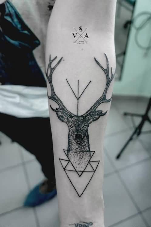 Brilliant Lower Sleeve Cover up With Outstanding Geometric Deer Tattoo