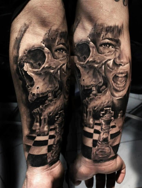 Brilliant Lower Sleeve Decorated With Realistic Chess Table And Angry Skull And Girl Death Face Tattoo Design Made By Artist