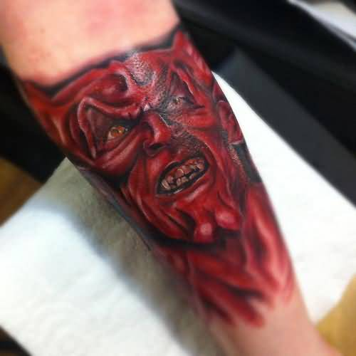 Brilliant Lower Sleeve Decorated With Ultimate Scary Devil Face Tattoo Design