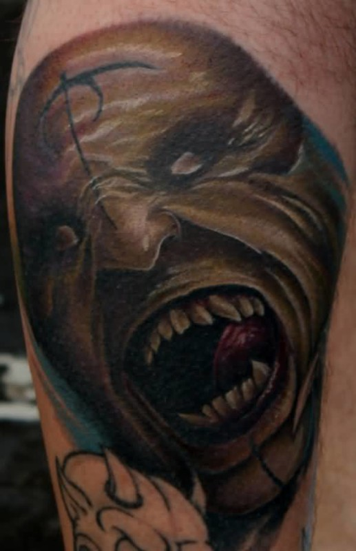 Brilliant Open Mouth Angry Demon Face Tattoo Design Made By Cool Artist