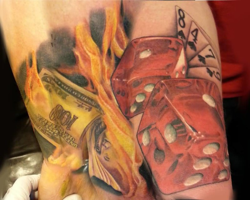 Brilliant Red Ink Dice And Flaming Dollar With Fabulous White Cards Tattoo