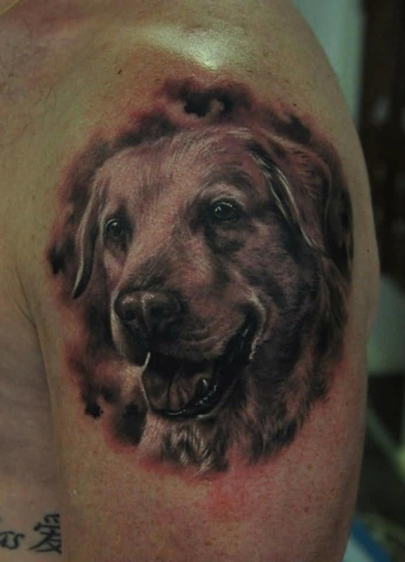 Brilliant Sweet Dog Face Tattoo Design Make On Upper Sleeve