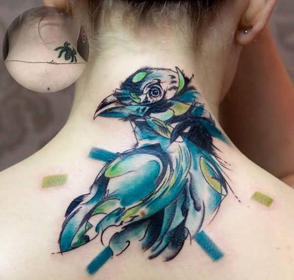 Brilliant Upper Back Cover Up With Awesome Watercolor Bird Tattoo For Women