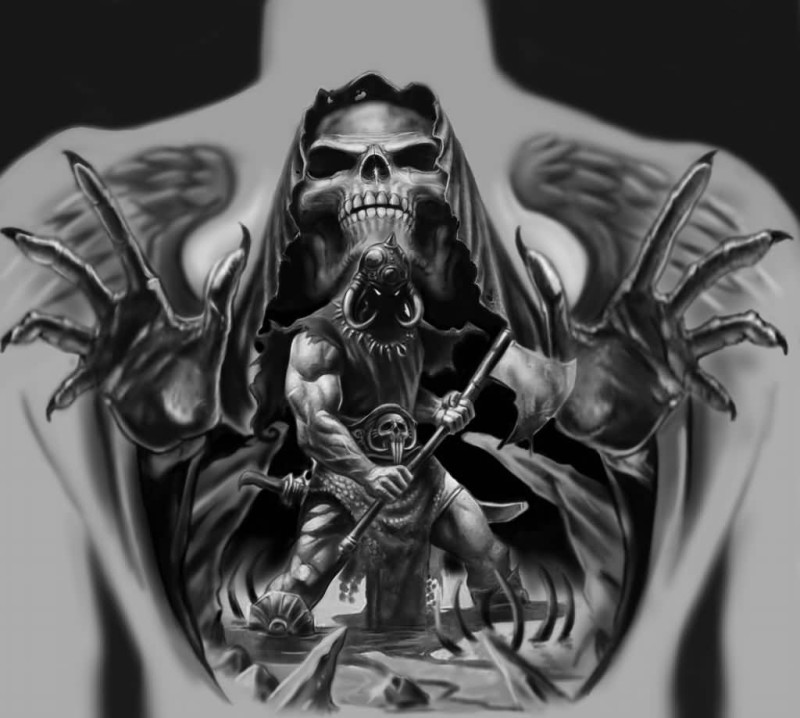 Brilliant Upper Back Decorated With Realistic Angry Death Warrior And Skull Tattoo