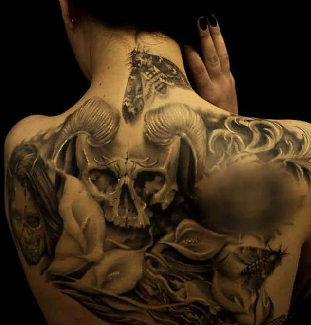 Brilliant Upper Back Decorated With Realistic Big Horn Scary Skull Devil And Bad Girl Face Tattoo For Pretty Hot Girl