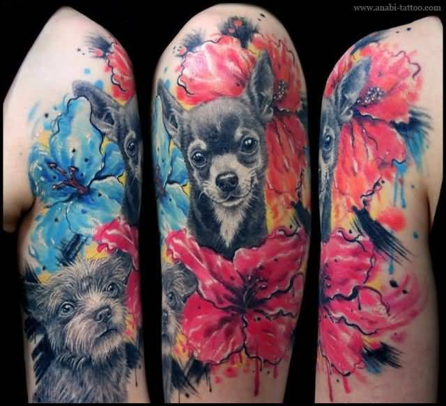 6329be6bb Brilliant Upper Sleeve Cover Up With Realistic Dog Face Tattoo Design