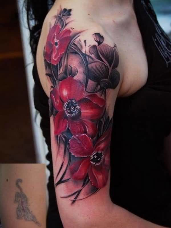 Brilliant Upper Sleeve Cover Up With Realistic Famous Flower Tattoo For Funky Women
