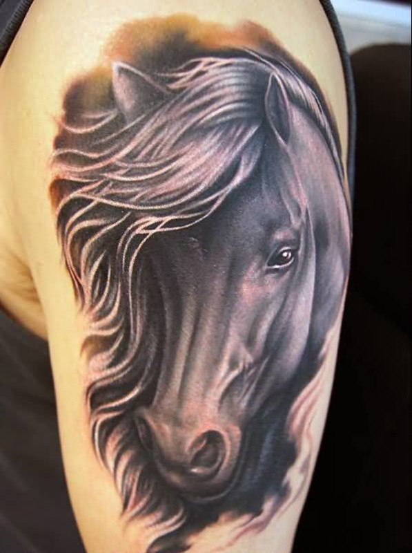 Brilliant Upper Sleeve Decorated With Awesome Horse Face Tattoo For Handsome Men