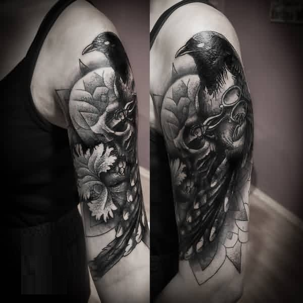 Brilliant Upper Sleeve Decorated With Outstanding Crow And Scissior Tattoo
