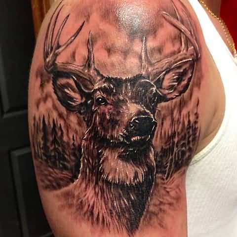 Brilliant Upper Sleeve Decorated With Realistic Deer Face Tattoo For Men
