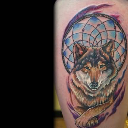 Brilliant Wolf Dream Catcher Animal Tattoo Design