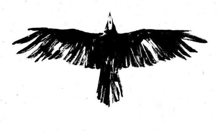 Simple Crow Tattoo Design Make On Paper