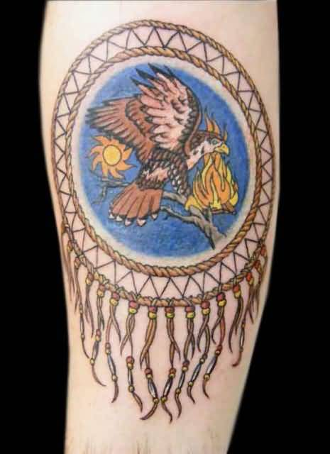Classy Flying Dream Catcher Animal Tattoo Design