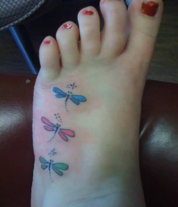 Colorful 3 Dragonfly Tattoo Design Make On Women's Foot