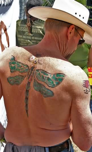 Crazy Old Men Show Amazing Dragonfly Tattoo On Upper Back Made By Colorful Ink