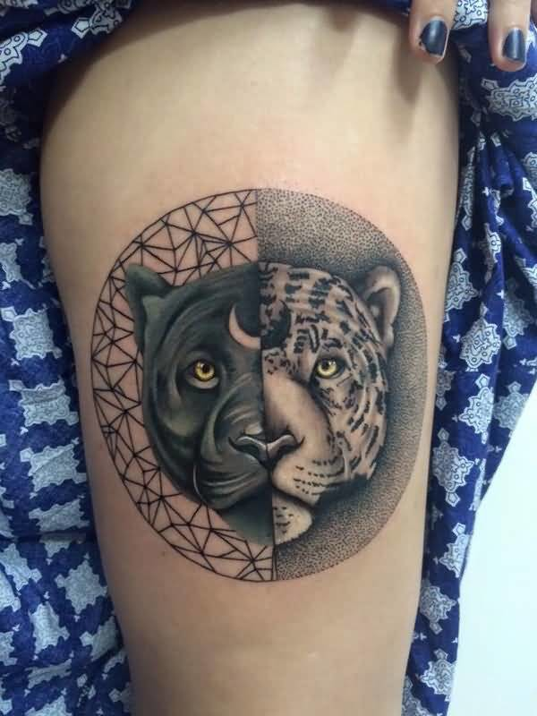 Yin Yang Tattoo Dark Skin: Dangerous Black Panther And Tiger Face In Yin Yang Circle