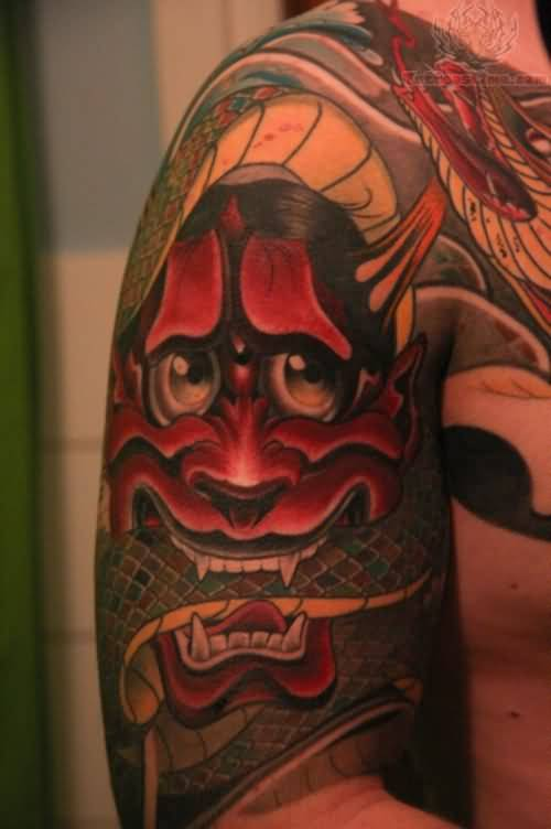 Demon sleeve tattoo ideas and demon sleeve tattoo designs for Asian face tattoos