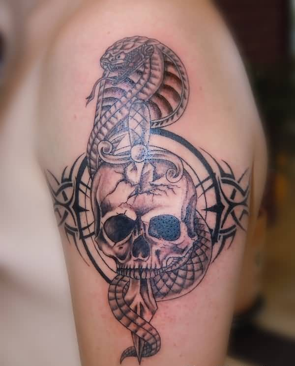 Dangerous Open Mouth Snake And Wonderful Dagger Skull Tattoo For Handsome Cool Men