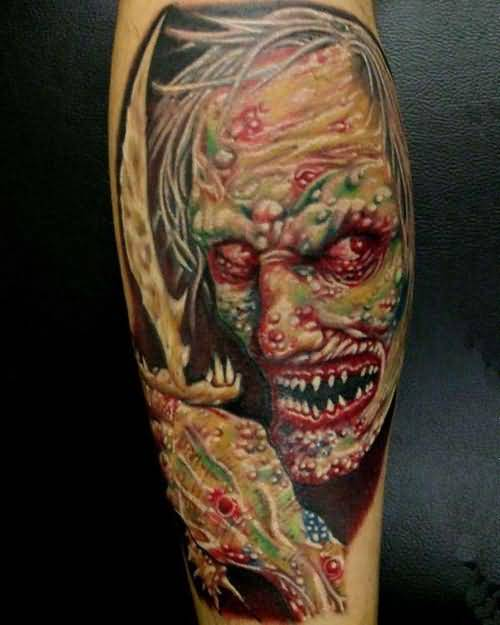 Dangerous Scary Death Monster Face Tattoo Design Made By Colorful Ink