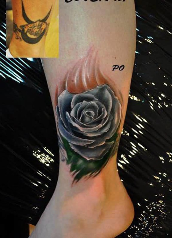 Fabulous Leg Cover Up With Brilliant Flower Tattoo